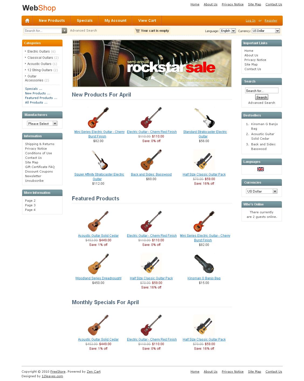pure orange Free Zen Cart Templates