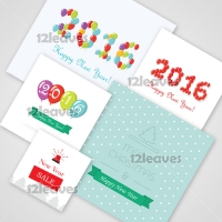 New Year 2016 Christmas Template Set