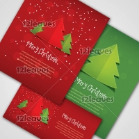 Merry Christmas and New Year postcard template set