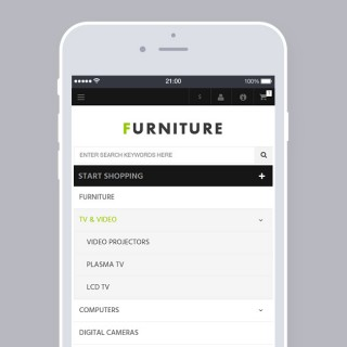 Categories menu on mobile devices with pull down subcategories